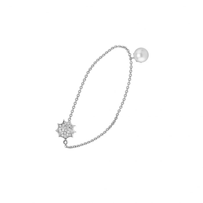 White gold bracelet with diamonds and SS pearl