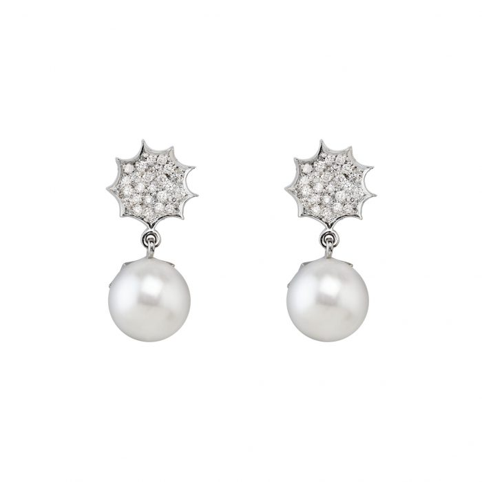 White gold earrings with diamonds and SS pearls
