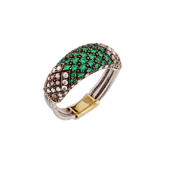 Yellow and white gold ring with diamonds and emeralds