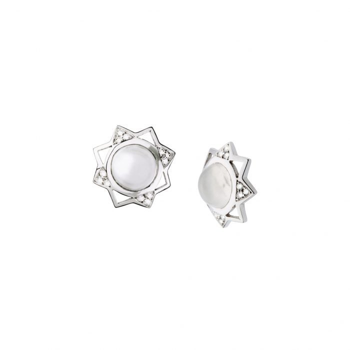 White gold with diamonds and light moonstone