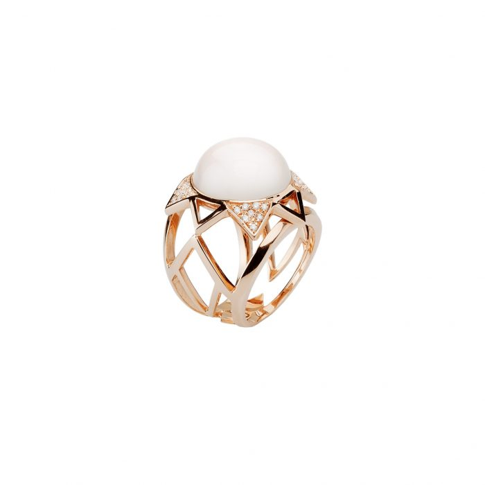 Pink gold ring with diamonds and light moonstone