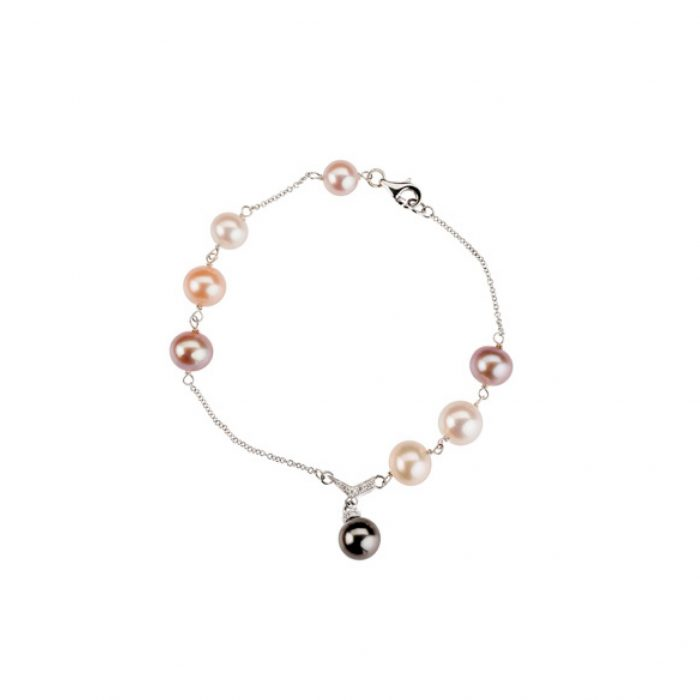 White gold bracelet with diamonds, Thaiti and FW pearls