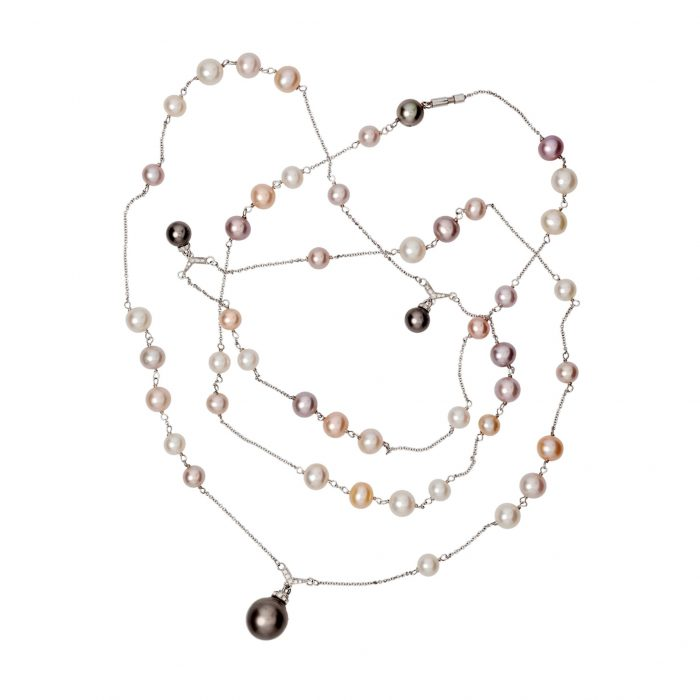 White gold necklace with diamonds, Thaiti and FW pearls