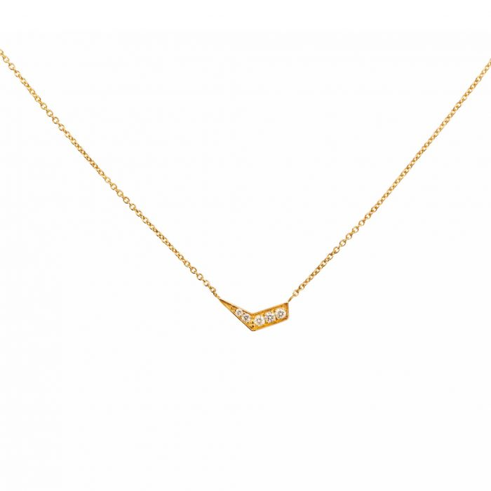 Pink gold necklace with diamonds