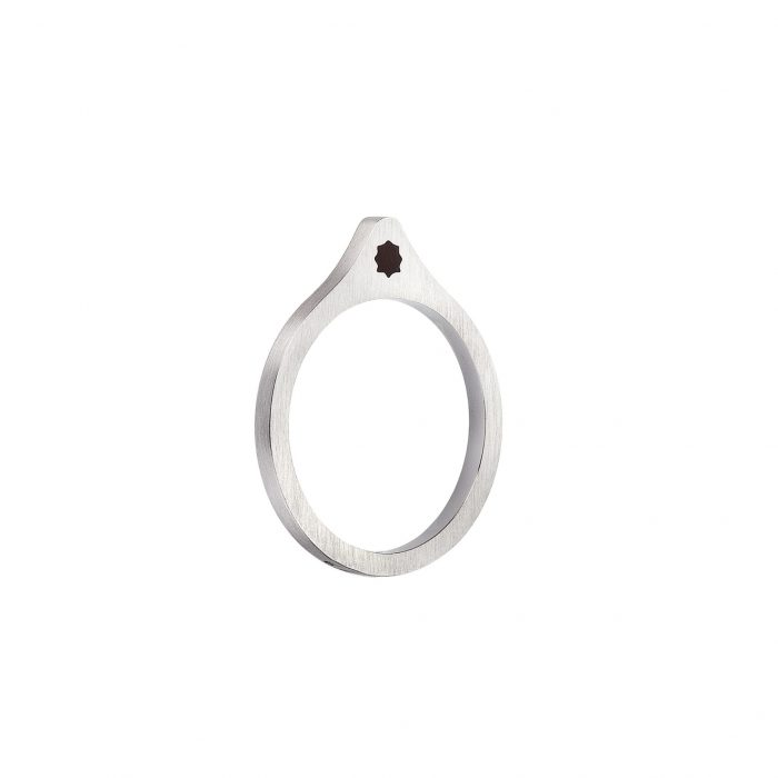 White gold ring with enamel