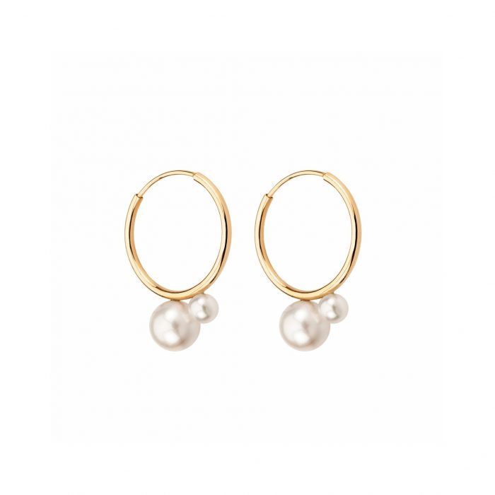Gold and pearls earrings-Mimata