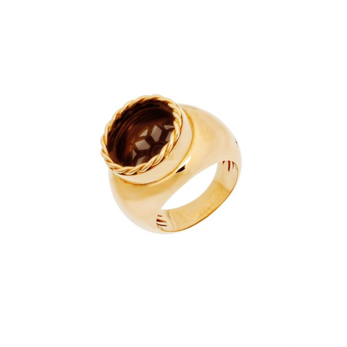 Pink gold ring with smoky quartz