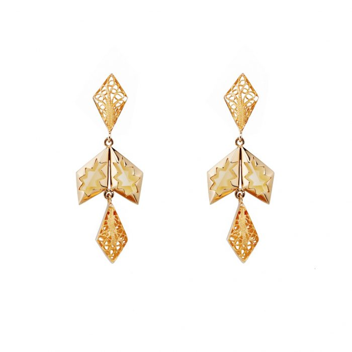 Yellow gold earrings with filigree and citrin