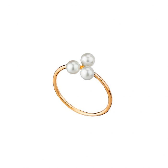 Gold and pearl-Tria Ring-Mimata