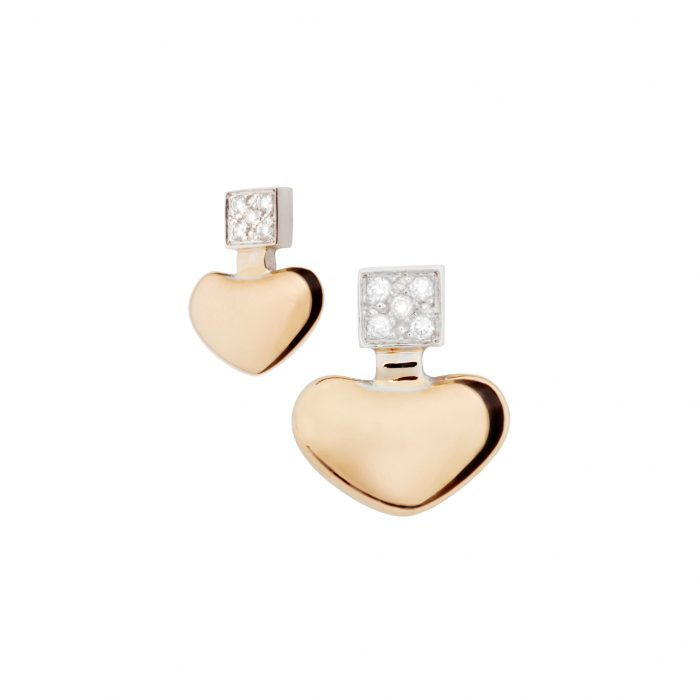White and pink gold earrings and diamonds