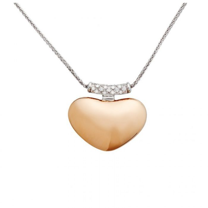 White and pink gold necklace and diamonds