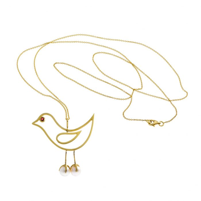 Yellow gold necklace, sapphire and Akoya pearls