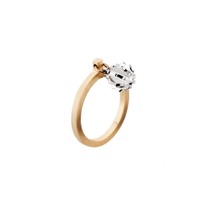 Grenade ring-yellow and white gold